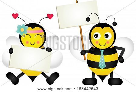 Scalable vectorial image representing a couple bees holding blank signboards, isolated on white.