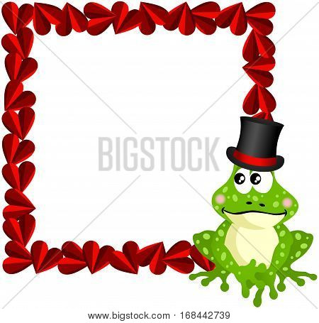 Scalable vectorial image representing a cute love frog frame, isolated on white.