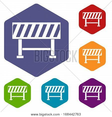 Traffic barrier icons set rhombus in different colors isolated on white background