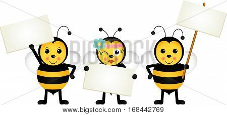 Scalable vectorial image representing a three bees holding blank signboards, isolated on white.