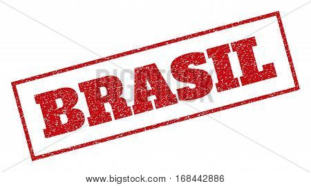 Red rubber seal stamp with Brasil text. Vector tag inside rectangular banner. Grunge design and scratched texture for watermark labels. Inclined emblem.