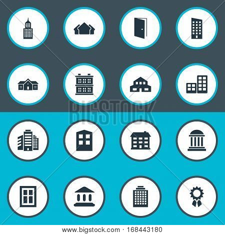 Set Of 16 Simple Architecture Icons. Can Be Found Such Elements As Superstructure, Floor, Construction And Other.