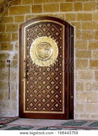 Door of Mahmoudiya Mosque in old city Jaffa Israel November 9 2011