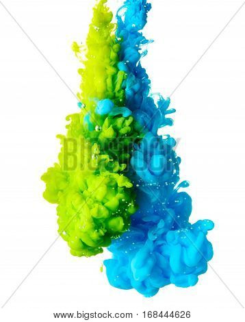 Color ink drop in water isolated on white background