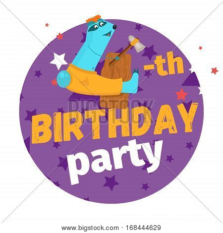 Fourth Or 4-th Birthday Party Greeting Card Or Postcard. Cartoon Animal Number In Flat Style Design.