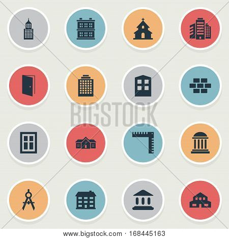 Set Of 16 Simple Structure Icons. Can Be Found Such Elements As Gate, Popish, Residence And Other.
