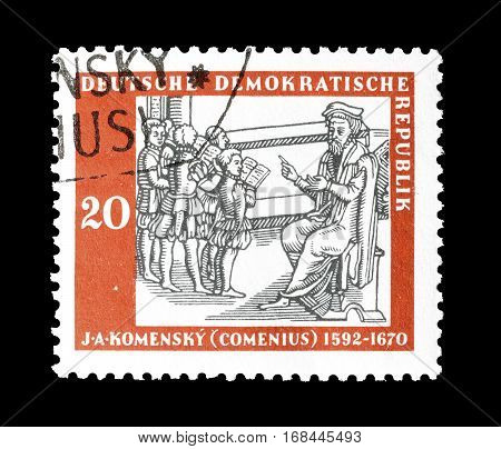GERMANY - CIRCA 1958 : Cancelled postage stamp printed by Germany, that shows Komensky.