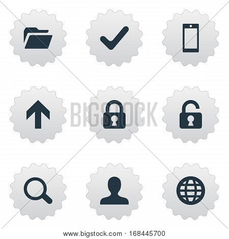 Set Of 9 Simple Application Icons. Can Be Found Such Elements As User, Dossier, Smartphone And Other.