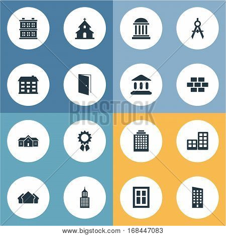 Set Of 16 Simple Structure Icons. Can Be Found Such Elements As Reward, Booth, Popish And Other.