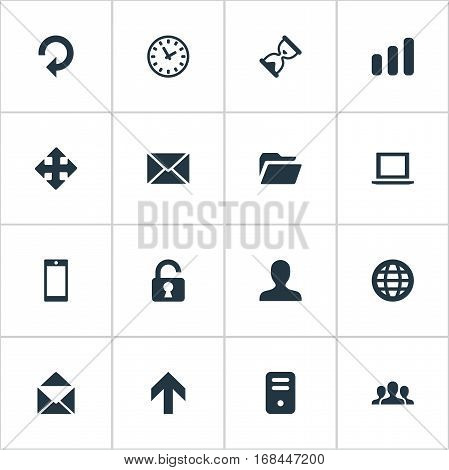 Set Of 16 Simple Apps Icons. Can Be Found Such Elements As Sand Timer, Upward Direction, Web.