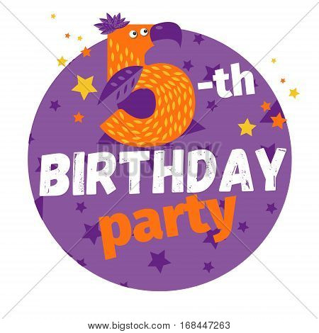 Fifth or 5-th birthday party greeting card or postcard. Cartoon animal number in flat style design. Bright funny cartoon number character for kids or children b-day event.