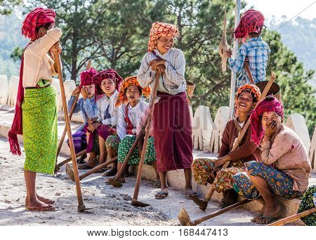 Inle Lake, Myanmar - December 09, 2016 : women tribe resting and laughing near Kalaw Shan state in Myanmar