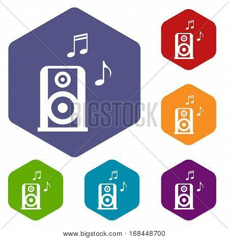 Portable music speacker icons set rhombus in different colors isolated on white background