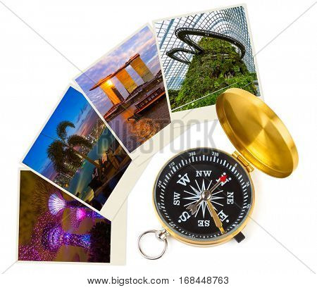 Singapore travel images (my photos) and compass - architecture and nature concept