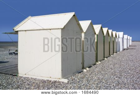 beach huts cayeux-sur-mer somme picardy france europe poster
