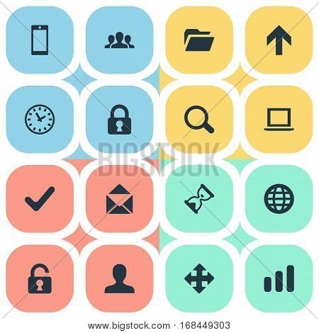Set Of 16 Simple Application Icons. Can Be Found Such Elements As Arrows, Dossier, Check And Other.