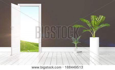 Beautiful living room interior with open door. 3D rendering