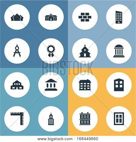 Set Of 16 Simple Construction Icons. Can Be Found Such Elements As Engineer Tool, Popish, School And Other.