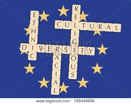 Diversity In The EU Concept: Letter Tiles 3d illustration With European Union Flag