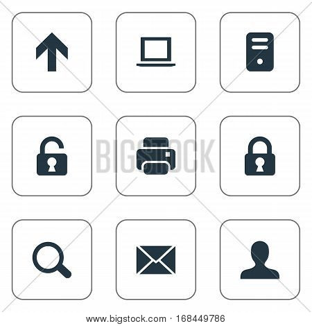 Set Of 9 Simple Apps Icons. Can Be Found Such Elements As Printout, Lock, User And Other.