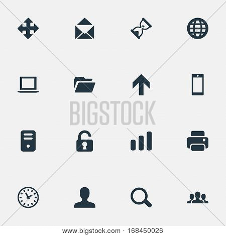 Set Of 16 Simple Practice Icons. Can Be Found Such Elements As Magnifier, Web, Printout And Other.
