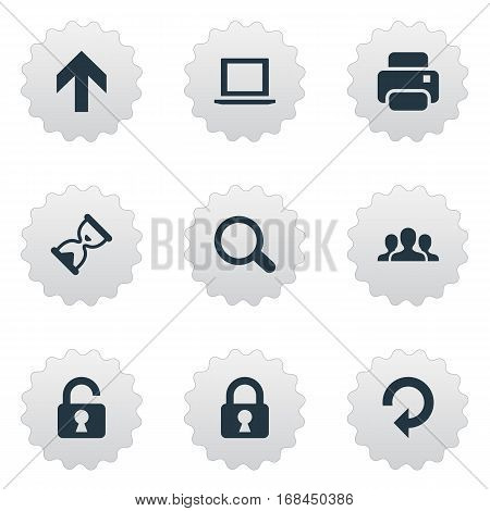 Set Of 9 Simple Application Icons. Can Be Found Such Elements As Community, Lock, Printout And Other.