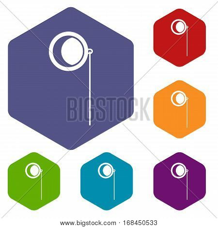 Monocle icons set rhombus in different colors isolated on white background