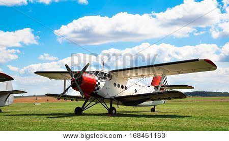 GERA GERMANY - AUGUST 13 2016: Old classic Antonov An-2 aircraft at an European AN-2 Meeting 2016 AUGUST 13