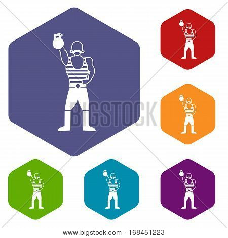 Strong man with kettlebell icons set rhombus in different colors isolated on white background