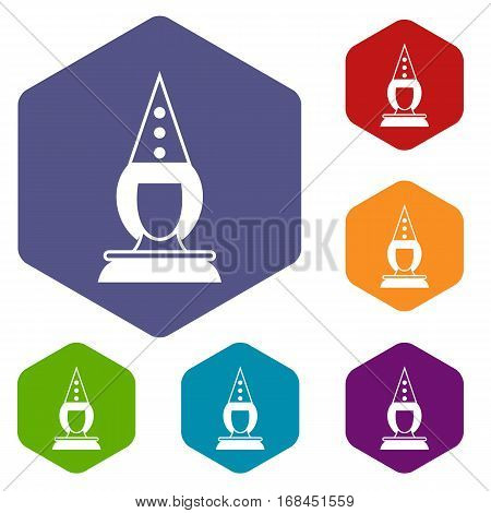 Pierrot clown icons set rhombus in different colors isolated on white background