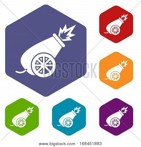 Circus cannon icons set rhombus in different colors isolated on white background