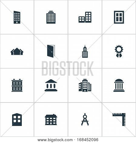 Set Of 16 Simple Structure Icons. Can Be Found Such Elements As Engineer Tool, School, Superstructure And Other.