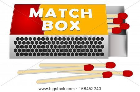 Matches and Match Box Illustration. Isolated on white.
