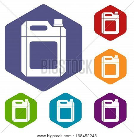 Plastic jerry can icons set rhombus in different colors isolated on white background