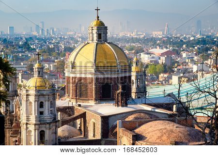 View of Mexico City from the Hill of Tepeyac with the Basilica of Guadalupe on the foreground