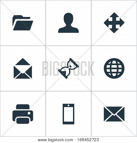 Set Of 9 Simple Practice Icons. Can Be Found Such Elements As Envelope, User, Printout And Other.