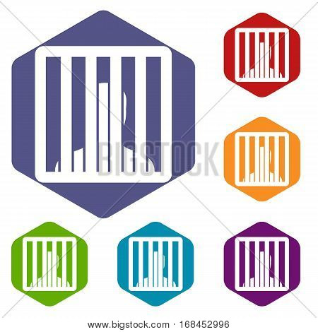 Man behind jail bars icons set rhombus in different colors isolated on white background