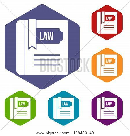 Law book icons set rhombus in different colors isolated on white background