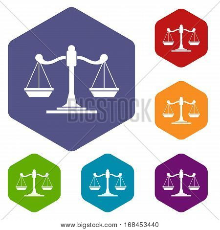Scales of justice icons set rhombus in different colors isolated on white background