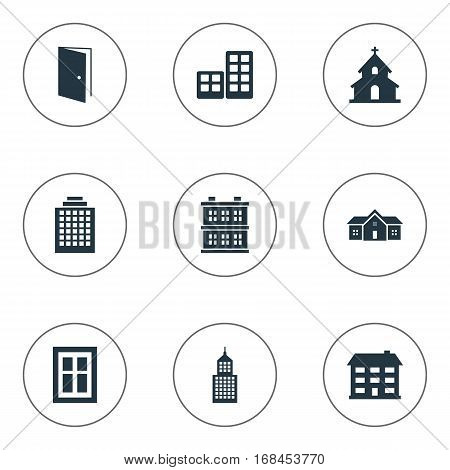 Set Of 9 Simple Architecture Icons. Can Be Found Such Elements As Block, Glazing, Popish And Other.
