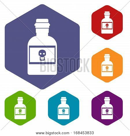 Poison bottle icons set rhombus in different colors isolated on white background