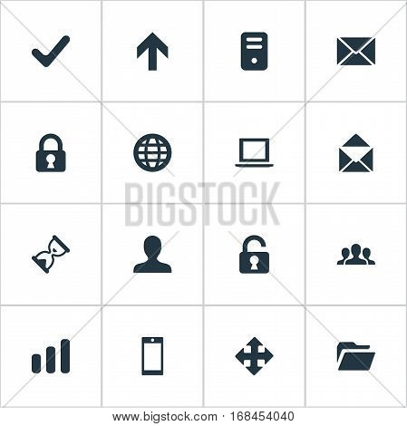 Set Of 16 Simple Application Icons. Can Be Found Such Elements As Envelope, Open Padlock, User And Other.