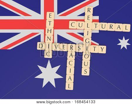 Diversity In Australia Concept: Letter Tiles 3d illustration With Australian Flag