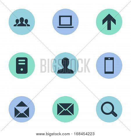 Set Of 9 Simple Practice Icons. Can Be Found Such Elements As Magnifier, Computer Case, Notebook And Other.