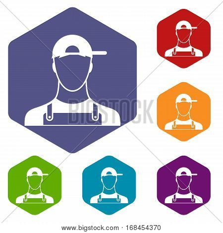 Plumber icons set rhombus in different colors isolated on white background