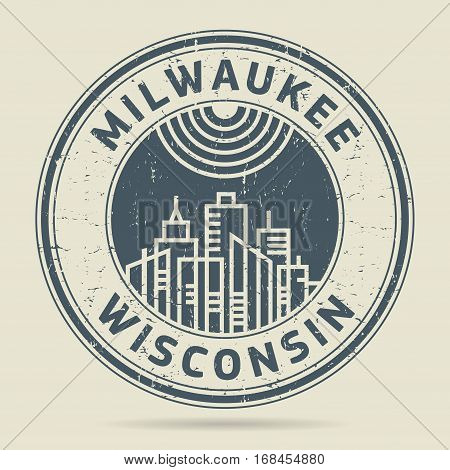 Grunge rubber stamp or label with text Milwaukee Wisconsin written inside vector illustration