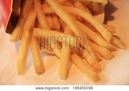 Serving of French fries in a takeaway restaurant