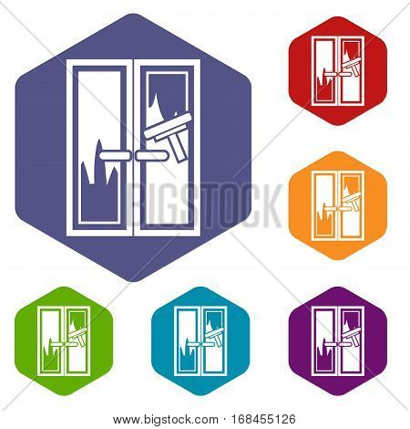 Window cleaning icons set rhombus in different colors isolated on white background