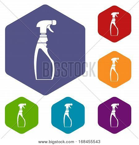 Sprayer bottle icons set rhombus in different colors isolated on white background