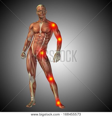 Conceptual 3D illustration of human anatomy body with pain and inflammation, gray gradient background for medical, fitness, medicine, bone, care, hurt, osteoporosis arthritis body